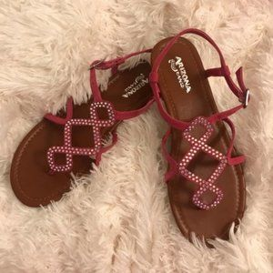🏷 Arizona Geffy Pink Sandals Size 8 M Strappy